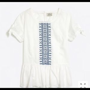 NWOT J. Crew white and blue embroidered peplum top